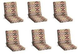 South Western Replacement Patio Chair Cushion Set of 6 Outdoor Dining Cushions