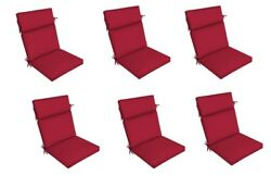 Solid Red Dining Chair Cushion Set of 6 Patio Deck Thick Replacement Cushions