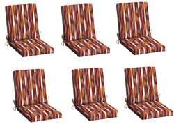 Striped Replacement Patio Chair Cushion Set of 6 Outdoor Dining Cushions Seat