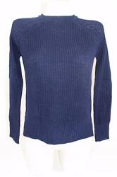ZARA NAVY BLUE KNITTED JUMPER WITH BACK BUTTONS  S SMALL REF 3674817