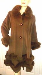 EUC $1750 Belle Tare Size L Women's Genuine Fur Cashmere Wool Coat Luxurious  ~