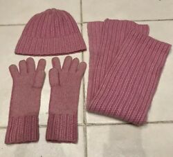 100% Cashmere Scarf hat and gloves set