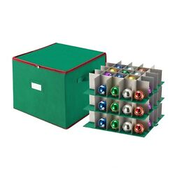 Tiny Tim Totes Christmas Ornament Storage Chest Holds 75 Balls w Dividers Green $19.99