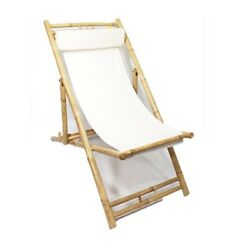 Garden Patio Sling Chair Folding Deck Pool Chair Bamboo Wood Canvas Seat White