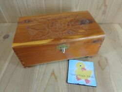 Jewelry Box Large Trinket Box Flower Design Brown Wood Hinged One Section Mirror