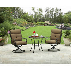 3 Piece Outdoor Bistro Set Swivel Chairs Round Table Patio Garden Furniture New