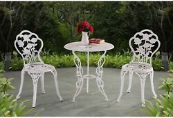 Elegant Floral White Cast Iron Bistro Set Garden Outdoor Patio Table Chairs Home