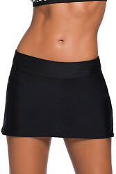 Women#x27;s Wide Band Swim Skirt Skort Tankini Bottoms Bikini Beach Swimwear Black $15.18