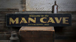 Welcome Man Cave Sign Man Cave Est Date Sign -Distressed Wooden Sign ENS1001928