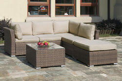 4 PC Rattan Wicker Sofa Set Outdoor Patio Garden Sectional Furniture Cushioned