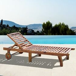 Outdoor Folding Chaise Lounge Chair Acasia Wood Natural Colour Garden Furniture