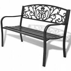 2 Seater Garden Bench Black Cast Iron Steel Frame Patio Lawn Outdoor Furniture