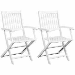 Outdoor Folding Dining Chairs 2 Pieces White Acacia Wood Lawn Garden Furniture