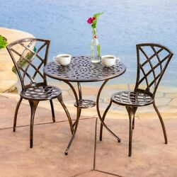 Patio Bistro Set Cast Aluminum Table Two Chairs Garden Yard Deck Shiny Cooper