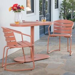 Metal Bistro Set Oval Table Two Chairs Garden Patio Deck Iron Rust Free Orange