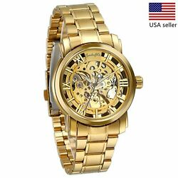 Luxury Mens Stainless Steel Gold Tone Skeleton Automatic Mechanical Wrist Watch $21.99