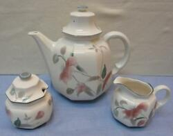 Mikasa Silk Flowers Dinnerware Coffee Pot and sugar with lid and creamer