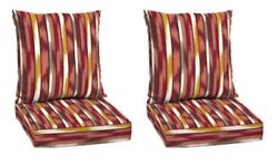 Striped Deep Seat Patio Chair Cushion Set of 2 Deck Dining Cushions Replacement