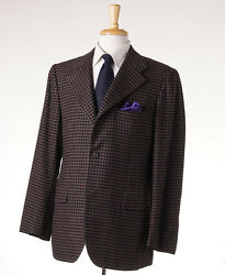 NWT $7495 KITON Brown-Black Check 100% Cashmere Sport Coat 44 R Modern-Fit