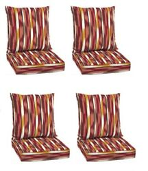 Striped Deep Seat Patio Chair Cushion Set of 4 Deck Dining Cushions Replacement