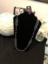 Dreamy Discovery - PurpleSilver Beaded Necklace (Long) Paparazzi New
