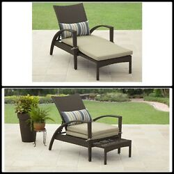 Lounge Chaise With Pullout Ottoman Outdoor Wicker Recliing Furniture Patio Steel