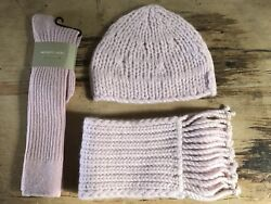 NEW Banana Republic 100% Pure Cashmere Handknit Scarf Hat Gloves Set Light Pink