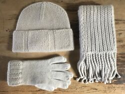 NEW Banana Republic 100% Pure Cashmere Handknit Scarf Hat Gloves Set Light Gray