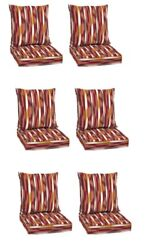 Striped Deep Seat Patio Chair Cushion Set of 6 Deck Dining Cushions Replacement