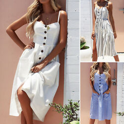 Womens Summer Sleeveless Spaghetti Strap Evening Cocktail Beach Short midi Dress