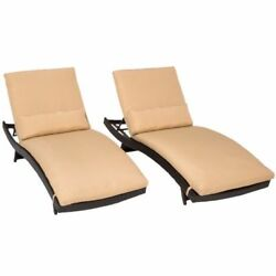 Miseno BALI-2x-SESAME Java 2-Piece Aluminum Framed Outdoor Chaise Lounge Chair S