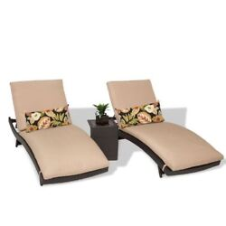 Miseno BALI-2x-ST-WHEAT Java 3-Piece Aluminum Framed Outdoor Chaise Lounge Chair