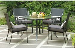 Patio Dining Set Metal 5 Piece Square Glass Top Table 4 Chair Seat Cushions Gray