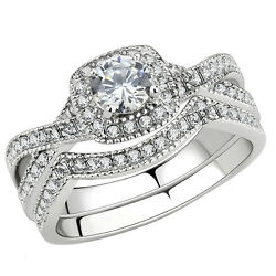 Stainless Steel Women's Infinity Wedding Ring Set Halo Round Cut Cubic