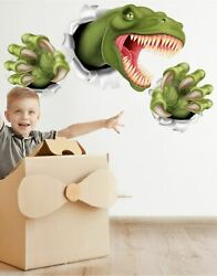 T Rex Dinosaur Jumping out of wall. 3D Graphic Wall Decal Sticker. Peel and Stic $19.95