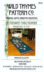 Wild Thymes Pattern Co 203 Bittersweet Table Runner Wool Penny Rug by Barb Cribb