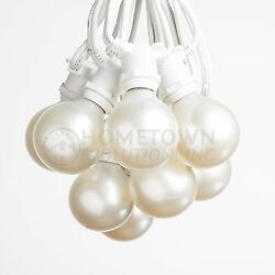 G50 White Pearl Globe C9 Commercial String Lights 100#x27; 50#x27; and 25#x27; Lengths