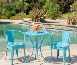 Blue Bistro Set 3 Piece Water Resistant Patio Garden Outdoor Iron Table Chairs