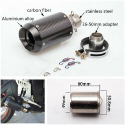 Motorcycle 51mm Slip-On Round Real Carbon Fiber Exhaust Muffler With DB Killer