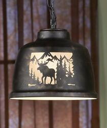 MOOSE WILDLIFE PENDANT LAMP LIGHT RUSTIC LODGE LOG CABIN MOUNTAIN HOME DECOR