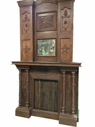 Indian Antique Fireplace Mantel 2 Pc Teak Wood Handcarved Architectural Artifact