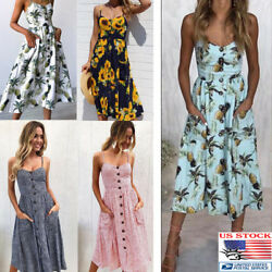 Women Sleeveless Swing Midi Dress Girl Floral Print Button Sundress Summer Beach