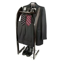 Espresso Hard wood Wardrobe Clothes Men Suit Valet Stand and Organizer ST-90E