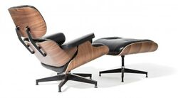 Classic Eames Style Lounge Chair and Ottoman Walnut Plywood - Top Grain Leather