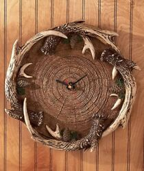 1 ANTLER CLOCK WALL ART RUSTIC LODGE LOG CABIN WOODLANDS HOME DECOR