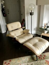 Authentic Herman Miller Eames Lounge Chair and Ottoman with Spinneybeck Leather