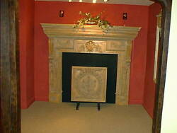 Fireplace Georgian style large carved limed wood fire surround mantel replica