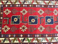 1970s Antique Caucasian Kazak 4ft x 7ft  Never Been Used Dowry Rug Free Shipping