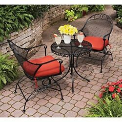 Stylish Patio Bistro Set Metal Chairs Table Cushions Outdoor Garden BlackRed