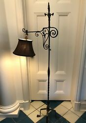 Lamp Wrought Iron Vintage Antique Floor Lamp with brown silk lamp shade $245.00